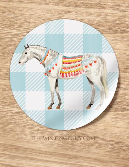 Dappled Grey Heart Pony Equestrian Stickers