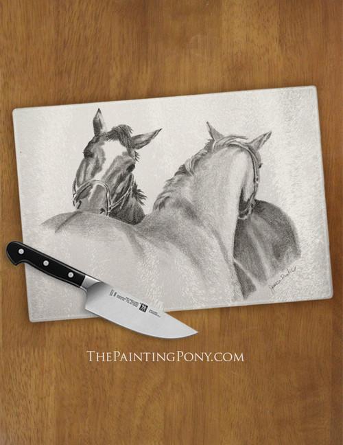 Horse Friends Equestrian Glass Cutting Board