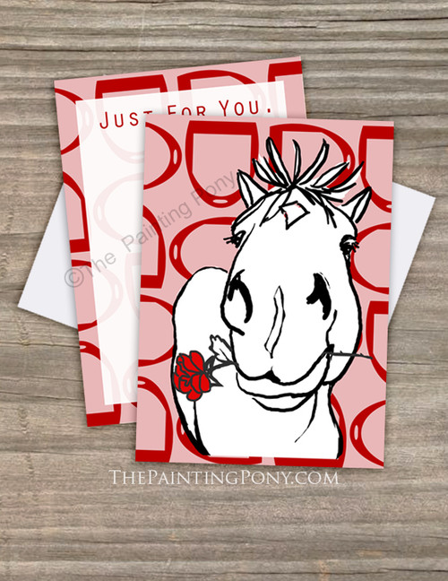 Cute Rose Pony Valentine's Day Flat Cards (10 pk)