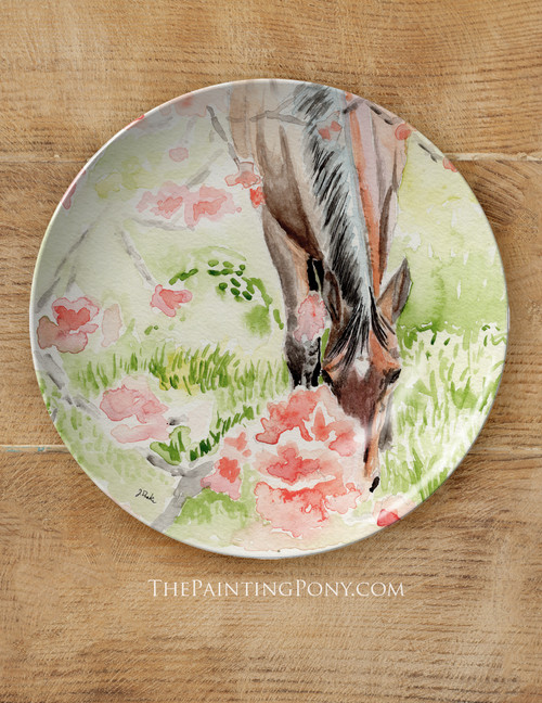 """Apple Blossoms Horse Watercolor Art Equestrian 10"""" Dinner Plate"""