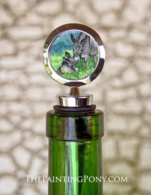Donkey Mom and Foal Watercolor Equestrian Wine Stopper
