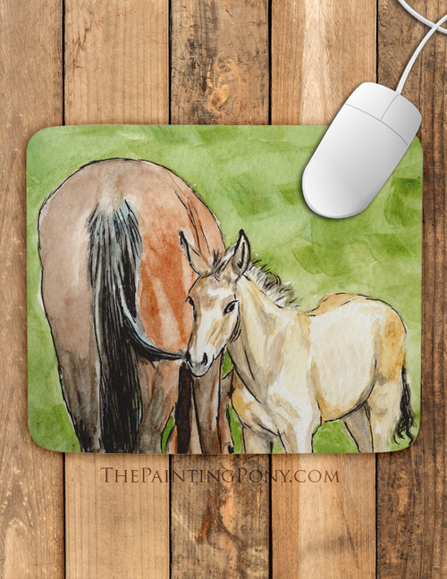 "Horse Foal Watercolor Art ""Little Brother"" Mouse Pad"