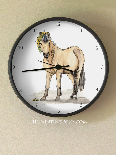 Cute Buckskin Pony Art Equestrian Wall Clock
