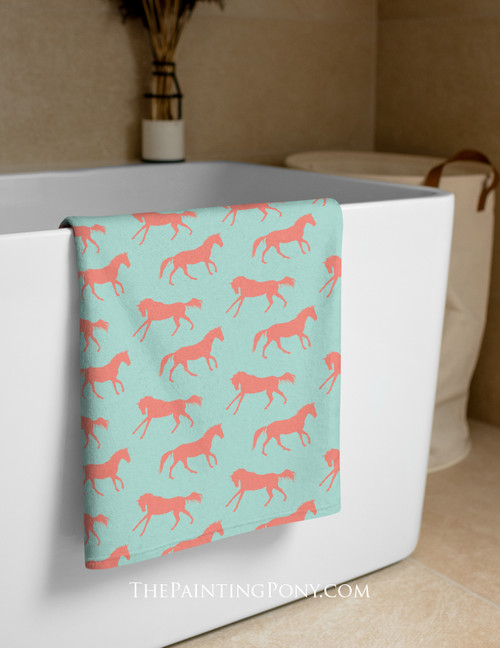 Coral and Mint Galloping Horse Pattern Equestrian Beach Towel