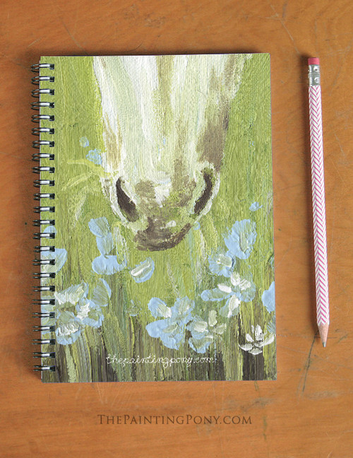 White Pony Nose Equestrian Spiral Notebook