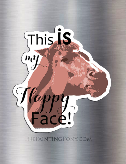 Chestnut Mare Happy Face Funny Equestrian Magnet