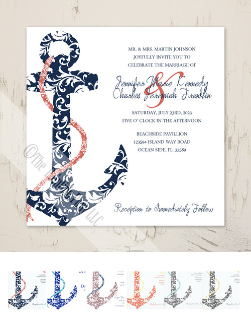ON SALE!! Navy and Coral Anchor Wedding Invitation (25pk)