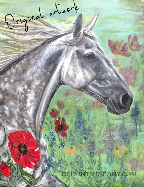 Paracosm - Dappled Gray Horse - Original Arcylic on Canvas Abstract Equestrian Large 3'x4' Painting
