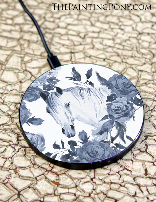 Blue Floral Horse Head Art Equestrian Wireless Charger