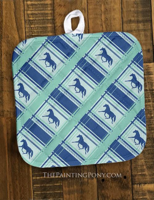 Teal Blue Plaid Horse Pattern Equestrian Pot Holder