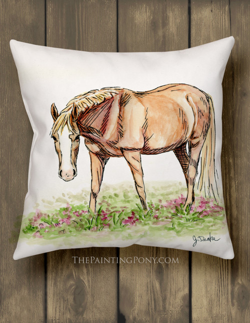 Whimsical Chestnut Pony Equestrian Throw Pillow