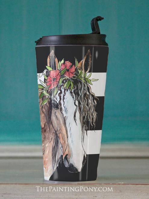 "Bohemian Horse Head Art ""Josie"" Equestrian Travel Tumbler"