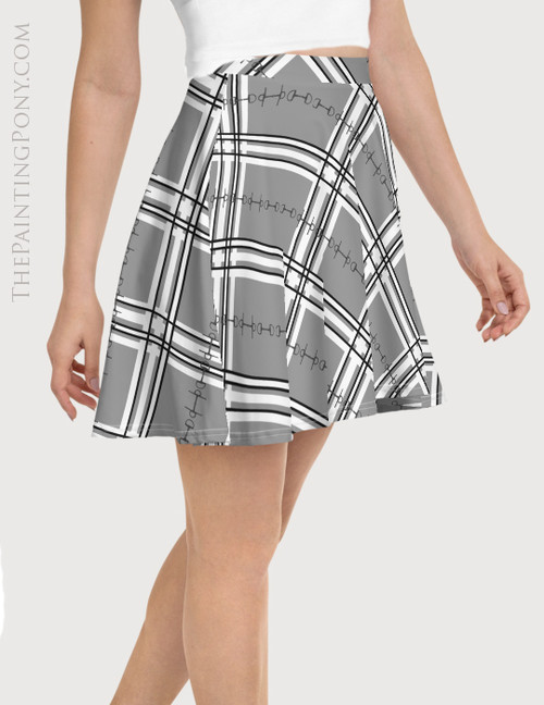 Plaid Horse Bit Pattern Equestrian Flare Skirt
