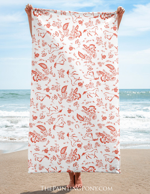 Country Floral Horse Pattern Equestrian Beach Towel