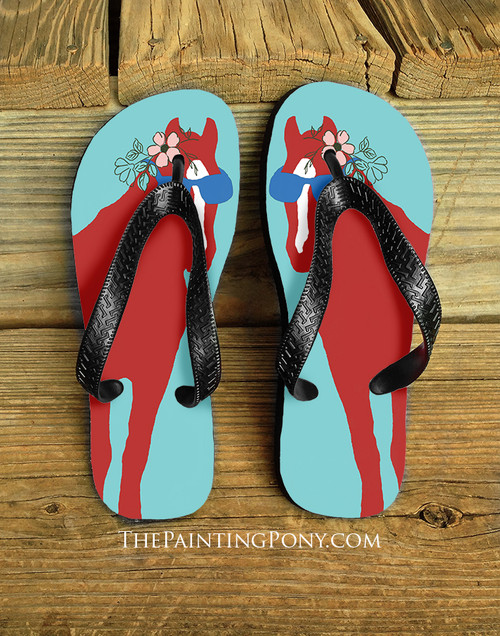 Summer Horse With Sunglasses Equestrian Flip Flops