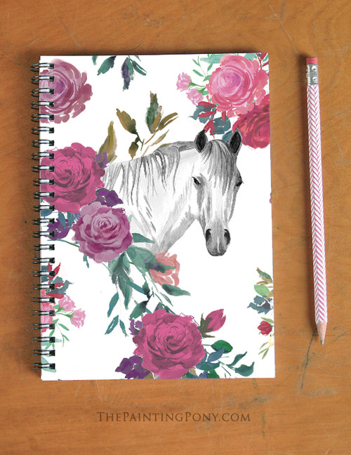 Watercolor Horse Head with Roses Equestrian Spiral Notebook