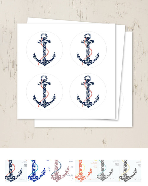 Nautical Beach Wedding Ship Anchor Stickers
