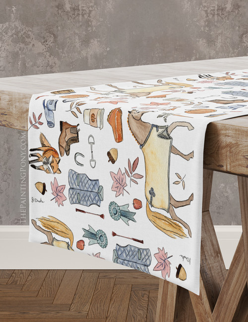 Fall Pony and Fox Pattern Equestrian Table Runner