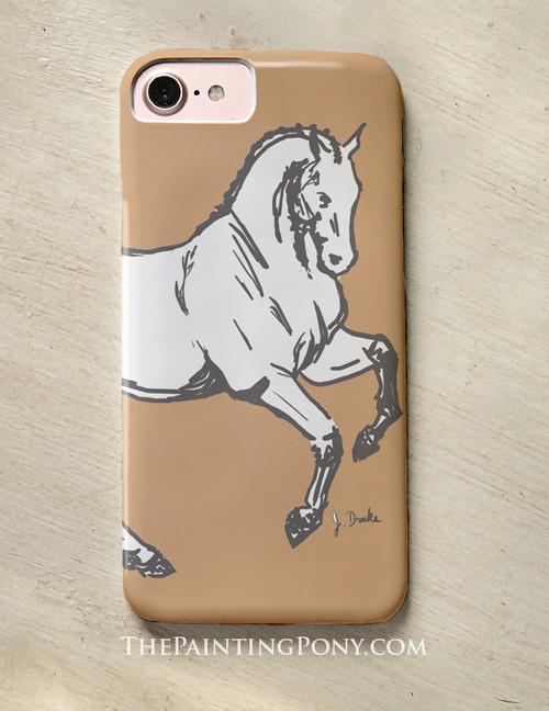 Dressage Horse Sketch Equestrian Phone Case