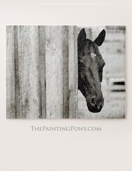 Curious Black Horse Equestrian Puzzle