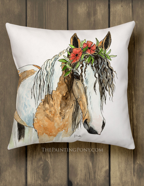 Josie Horse Head Art Equestrian Throw Pillow