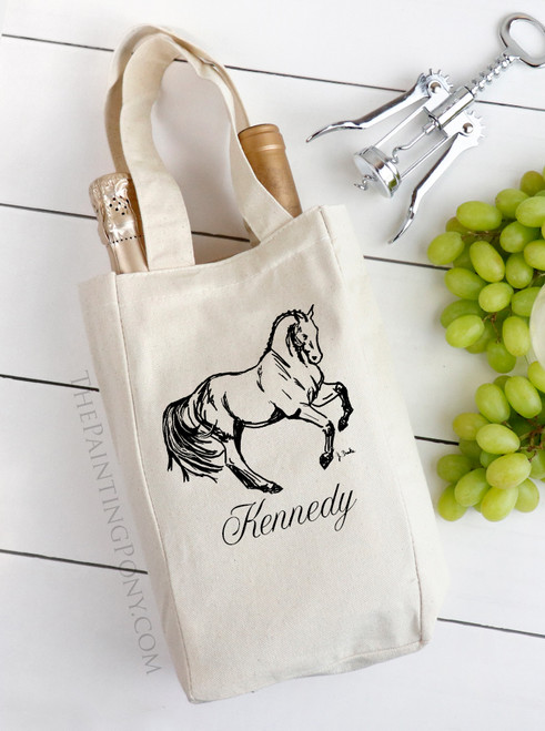 Personalized Dressage Horse Equestrian Themed Double Wine Tote