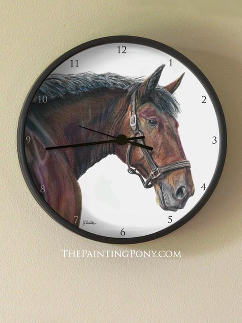 Cleveland Bay Horse Head Art Equestrian Wall Clock