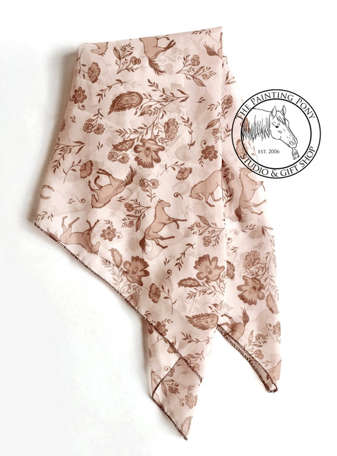 Country Floral Horse Pattern Equestrian Square Chiffon Scarf