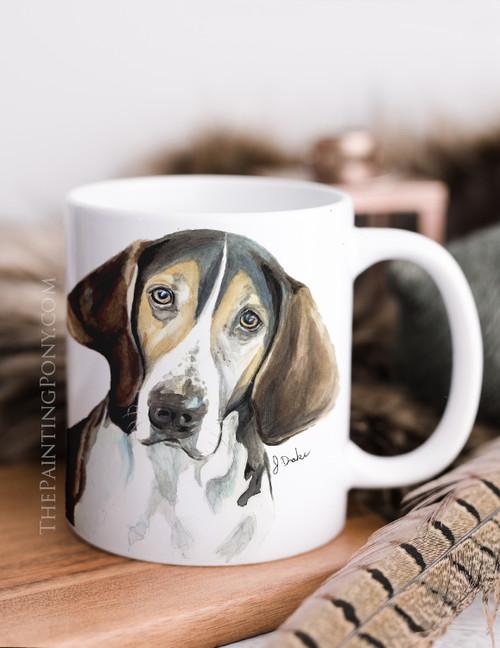"""Treeing Walker Coonhound """"Trooper"""" Dog Art Coffee Mug"""
