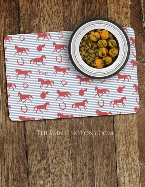English Horse Pattern Equestrian Pet Food Mat