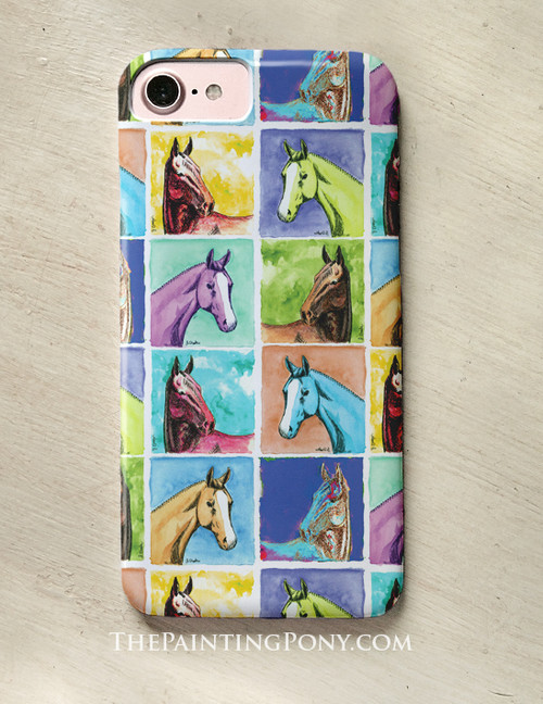 Colorful Horse Head Pattern Equestrian Phone Case