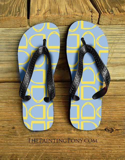 Yellow and Teal Horse Stirrups Pattern Equestrian Flip Flops