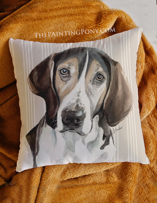 """Treeing Walker Coonhound """"Trooper"""" Farmhouse Style Throw Pillow"""