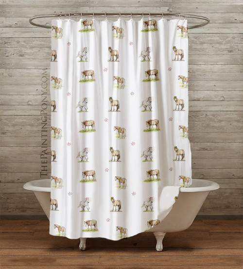 Whimsical Pony Pattern Equestrian Shower Curtain
