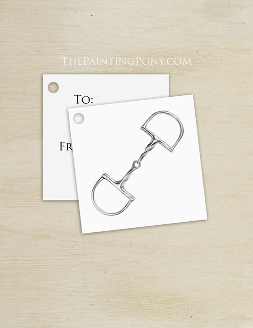 Slow Twist Horse Snaffle Bit Equestrian Square Gift Tags (10 count)