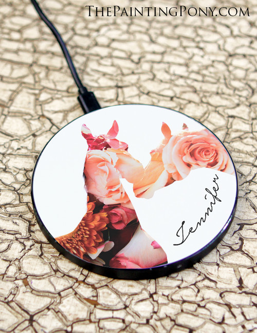 """Equestrian Horse Head """"Bloom"""" Art Personalized Wireless Charger"""