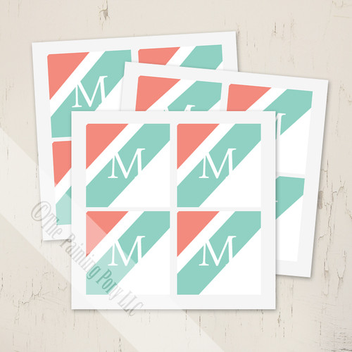 Fun modern coral and mint monogram envelope seal stickers