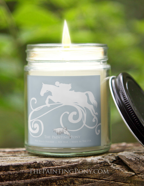 Jumping Horse Equestrian 9 oz Soy Jar Candle