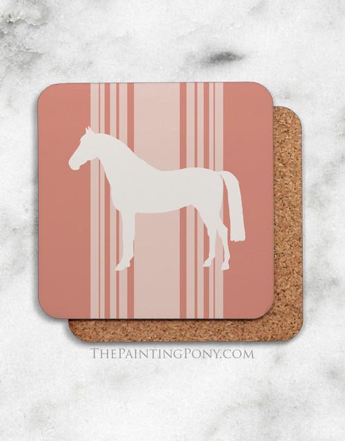 Coral Striped Horse Lover Corkback Coasters Set (4)