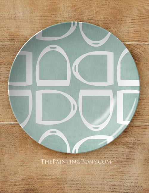 "Horse Stirrup Pattern Equestrian 10"" Dinner Plate"