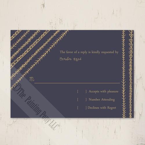 Artsy Doodles Wedding RSVP card (10 pk)