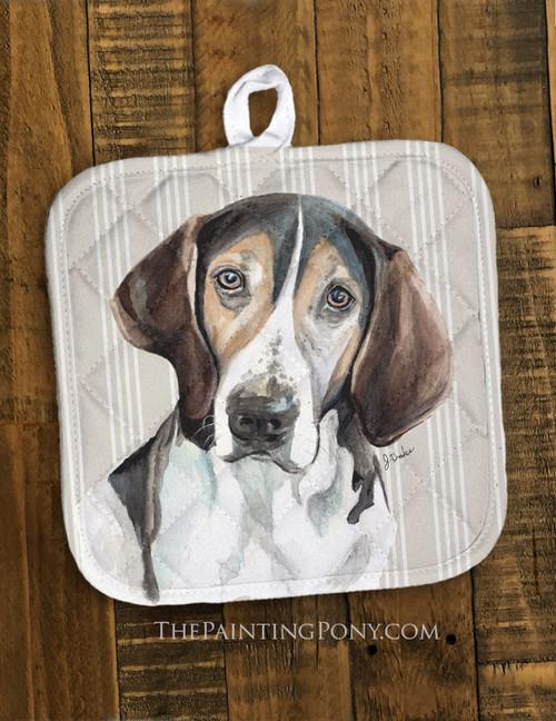 """Treeing Walker Coonhound """"Trooper"""" Dog Art Pot Holder"""