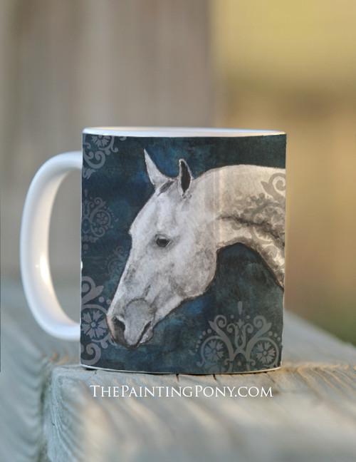 Dappled Gray Horse Head Art Equestrian Coffee Mug