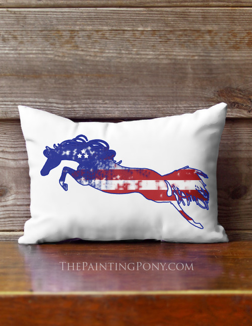 Liberty Horse Patriotic Equestrian Accent Pillow