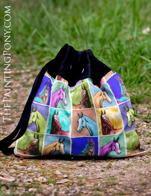 Colorful Horse Head Pattern Equestrian Pattern Sling Tote Bag