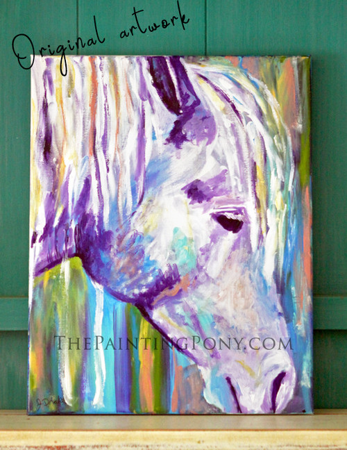 """Original Horse Head Acrylic Painting """"Imagine"""" 11x14 Stretched Canvas"""