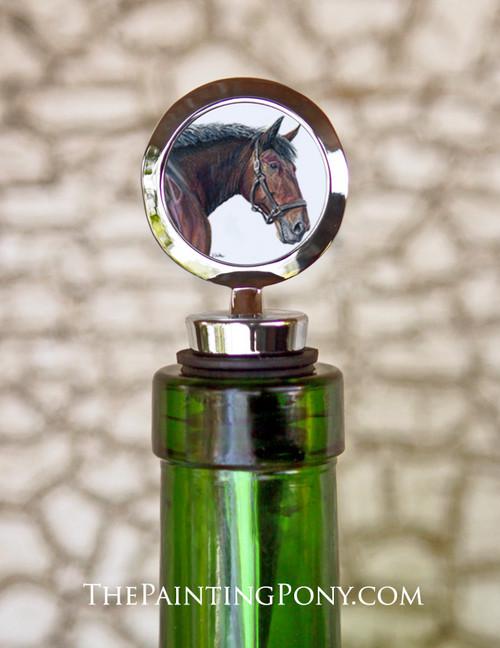 Cleveland Bay Horse Head Art Equestrian Wine Stopper