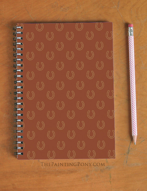 Horse Shoes Pattern Equestrian Spiral Notebook