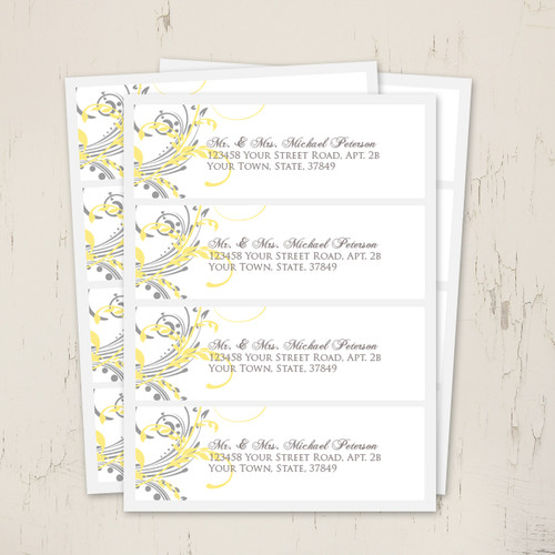 yellow and grey double floral wedding return address labels