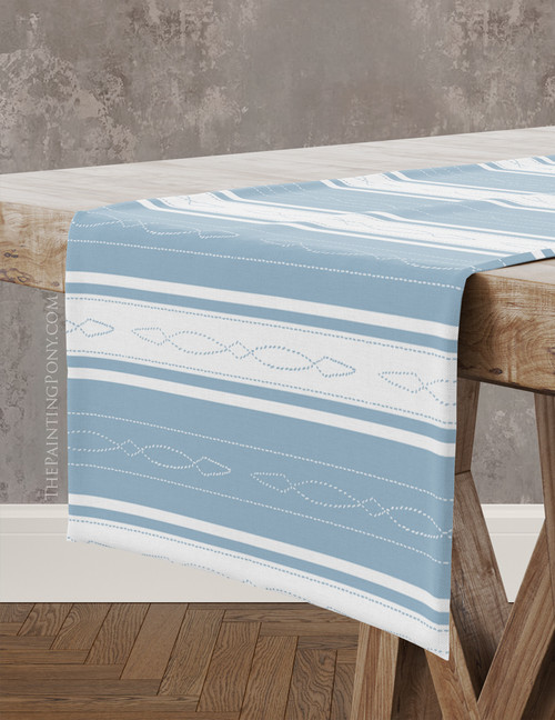 Bridle Stitch Pattern Striped Equestrian Table Runner